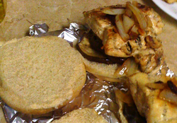 grilled chicken and eggplant sandwich